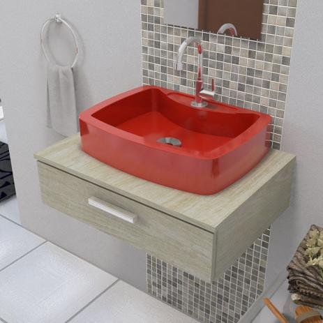 Imagem de Cuba Pia de Apoio Para Banheiro e Lavabo Modelo Albani Vermelha