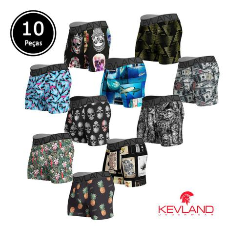 8f3e8e967cee6f Cuecas Boxer Kevland - Kit Com 10 Peças Com ESTAMPAS SORTIDAS