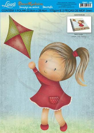 Imagem de Decoração para Caderno Escolar MDF Decoupage Menina DMA3-048 - Litoarte