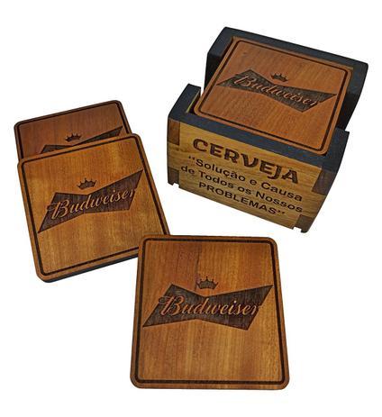 Imagem de Descanso Porta Copos de Cerveja - Madeira -  Budweiser - 6 Bolachas + Linda Caixa