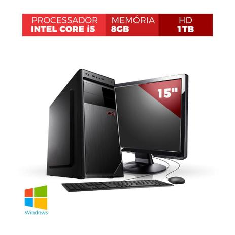 Imagem de Desktop Corporate Core i5 3.20Ghz 8Gb Ddr3 Hd 2tb Monitor Led 15'' Kit Teclado e Mouse Com Windows