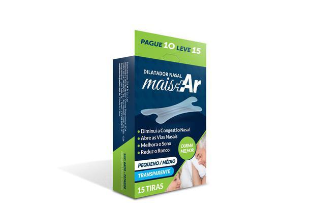 Imagem de Dilatador Nasal Mais Ar - Pequeno/Médio - Transparente - Caixa c/ 15 Unid