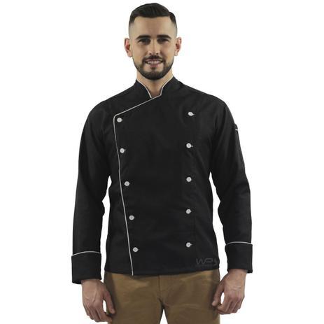 Dólmã Chef de Cozinha Preto  Branco 100 Algodão - Wp confecções ... b20116242c1