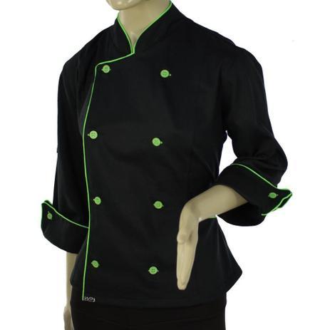 Dolmã Chef Feminina De Cozinha Angel Preto Com Verde - Algodão - Wp  confecções 833a053a59c