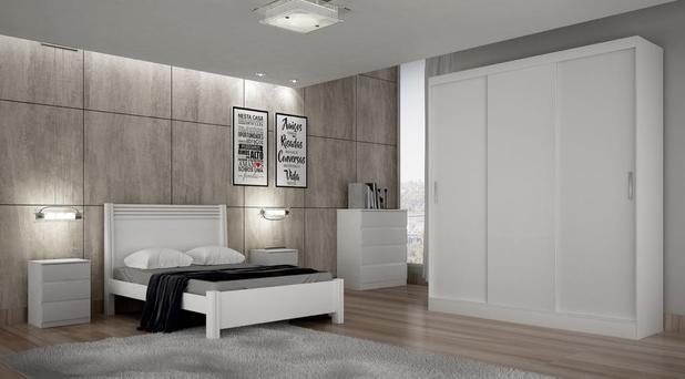 3c37d9b140 Dormitório Casal Completo 3 portas e 12 gavetas branco alto brilho Ônix  Novo Horizonte