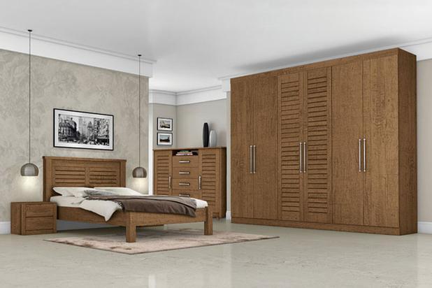 Dormitorio completo casal montreal carvalho tebarrot for Conjunto de dormitorio completo