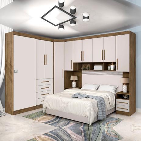 Imagem de Dormitório Modulado Georgia J&A Jequitibá / Off White Para Cama Box 1,38M Casal