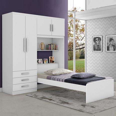 Menor preço em Dormitório Solteiro JA Cancún Branco ou Branco/Lilas - Ja Móveis