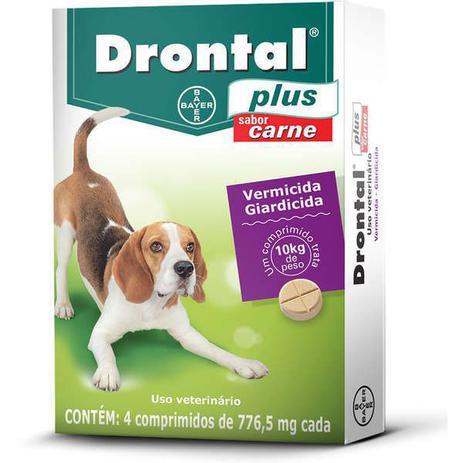 Imagem de Drontal Plus Vermicida Cães 10kg Sabor Carne c/ 4 Comprimidos 776,5mg