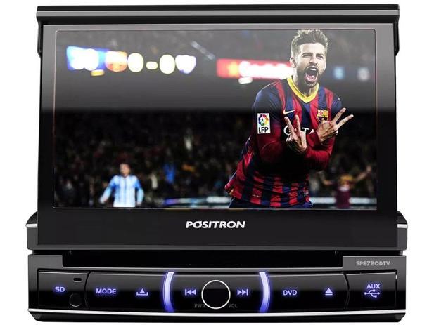"""3856852b44 DVD Automotivo Pósitron SP6720 LCD TV 7"""" Retrátil - Touch Bluetooth 80W RMS  Entrada Câmera de Ré USB"""
