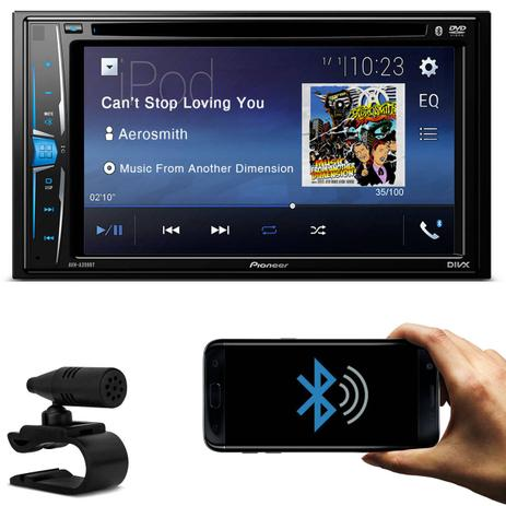 "58127f786 DVD Player Automotivo Pioneer AVH-A208BT 2 Din 6.2"" Bluetooth Android iOS  USB AUX MP3 Rádio AM FM"