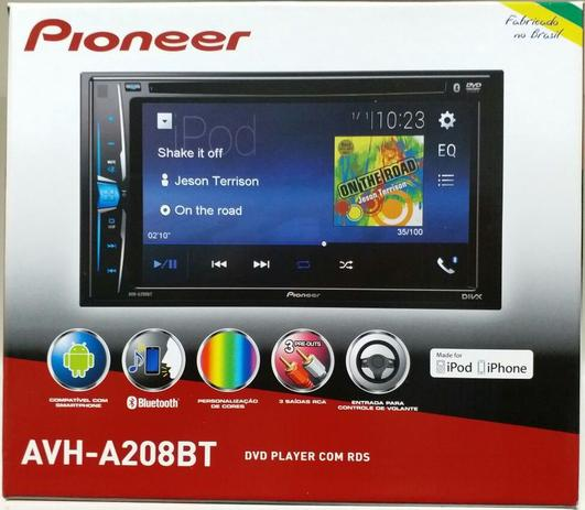 2f8a1936b Dvd Player Pioneer Avh-a208bt Bluetooth Usb Aux 2 Din 6.2 polegadas ...