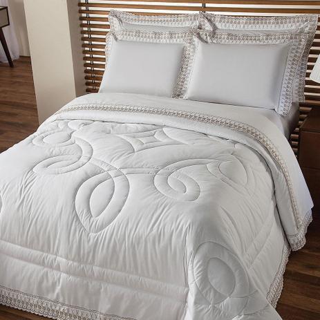 61acf6339d Edredom Casal 230 Fios Luxury com Renda Branco - Plumasul - Edredom ...