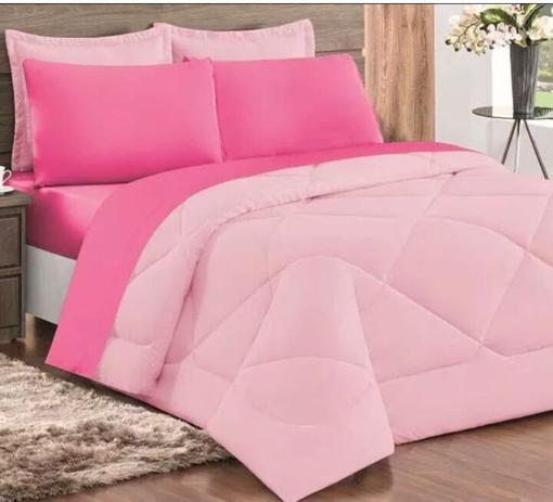 Imagem de Edredom Casal Queen 100% Algodão Dupla Face Malha Penteada 1 Peça Rosa e Pink