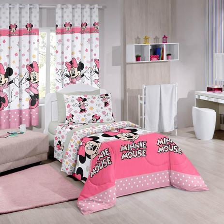 04e6325a87 Edredom Dupla Face Solteiro Minnie Happy - Disney - Santista ...