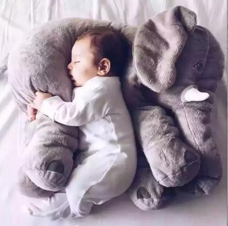 Imagem de Elefante Pelúcia Bebe Dormir Almofada Travesseiro Cinza 45cm
