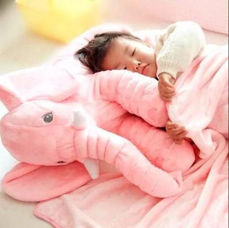 Imagem de Elefante Pelúcia Bebe Dormir Almofada Travesseiro Rosa 45cm