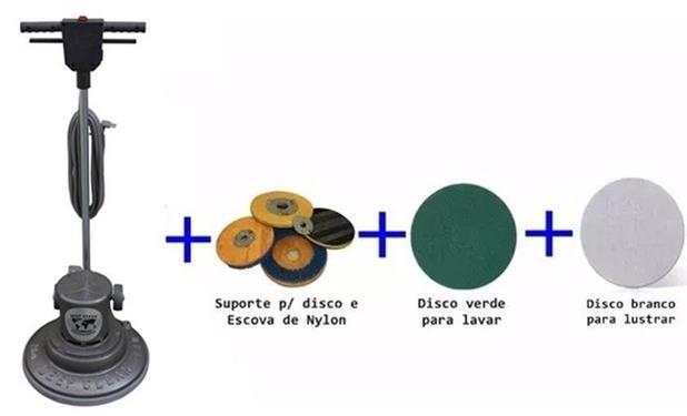 Imagem de Enceradeira Indl lava/lustra Deep Clean DC 350 com suporte, escova nylon, disco branco e disco preto