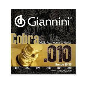 Imagem de Encordoamento Giannini Cobra 010 para Violão Aço