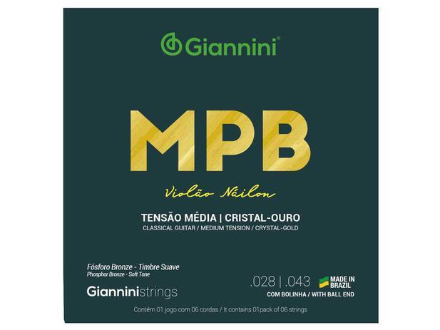 Imagem de Encordoamento Giannini MPB para Violão Nylon Cristal Ouro GENWG