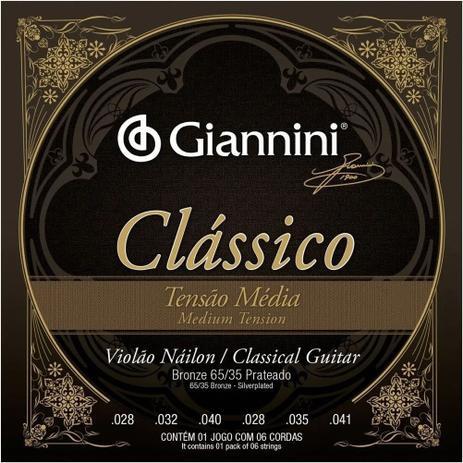 Imagem de Encordoamento Giannini p/ Violão Nailon Clássico Tensão Média GENWPM