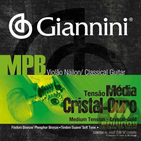 Imagem de Encordoamento GIANNINI Violão Náilon MPB Médio Cristal Ouro GENWG Bolinha