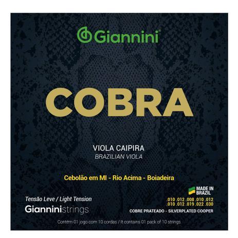 Imagem de Encordoamento Para Viola Caipira Giannini Tensão Leve Cobra