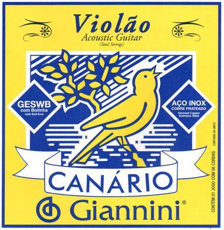 Imagem de Encordoamento para Violão Aço Com Bolinha Canário GESWB Giannini