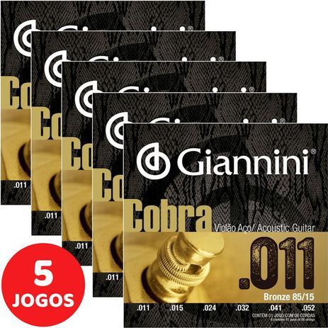 Imagem de Encordoamento Para Violão Aço (Folk) 011 052 Giannini Cobra Bronze 85/15 GEEFLK - Kit Com 5 Unidades