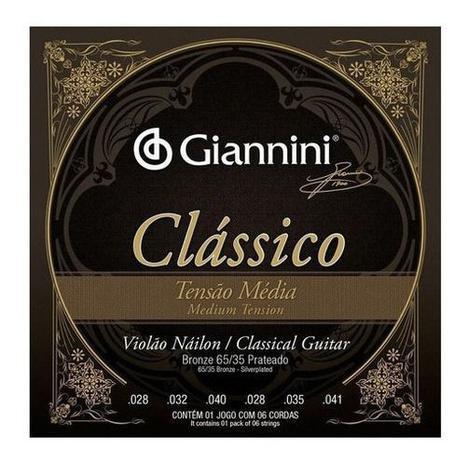 Imagem de Encordoamento Para Violão Nylon Média Giannini Clássico