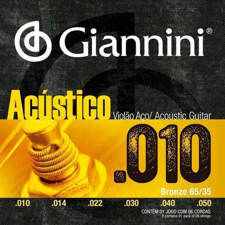 Imagem de Encordoamento Violão Aço Giannini 010 Bronze GESWAM