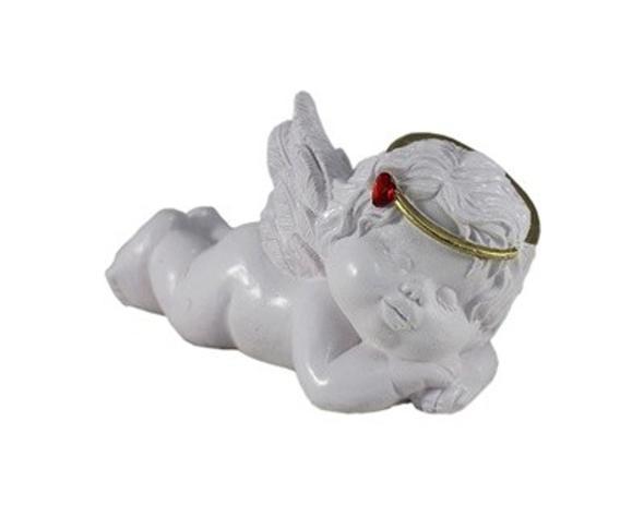 Imagem de Enfeite anjo de resina deitado com coração 9x17,5