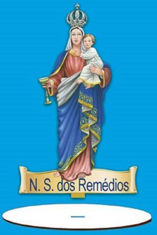 Imagem de Enfeite Arte em Madeira MDF e Tecido colado com Base N. S. dos Remédios AMTB-003 - Litoarte