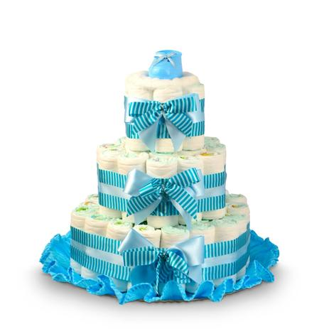 Enfeite Bolo De Fraldas Listras Azul Para Chá De Bebê Festabox