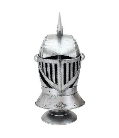 Imagem de Enfeite Capacete Cavaleiro Medieval Prateado 47x25x22cm