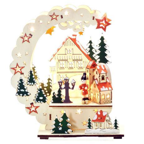Imagem de Enfeite de Natal com Luz Vila Natalina 22cm Santini Christmas
