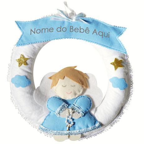 11448036f0aeb Enfeite de Porta Feltro Azul Anjinho Terço Nuvem Estrela Personalizado com  Nome - Mais que baby