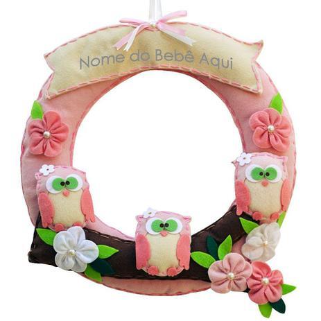 76ed9250f67da Enfeite de Porta Feltro Rosa Corujas Flor Personalizado com Nome - Mais que  baby