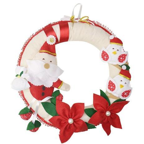 Imagem de Enfeite de Porta Guirlanda Feltro Natal Papai Noel