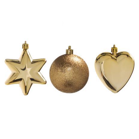 Imagem de Enfeite Natal Decorativo Estrela Bola e Coração Dourados 5cm