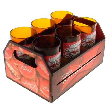 bbb31e8cfe8 Engradado Com 6 Copos De Vidro Budweiser Retrô - Versare anos dourados
