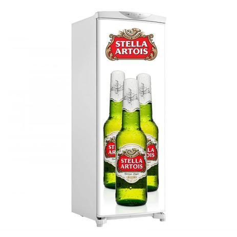 Imagem de Envelopamento De Geladeira Porta Três Garrafas De Stella Artois E Logo 150X60cm