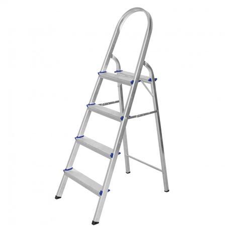 46df3778fe Escada de Alumínio Dobrável 4 Degraus Premium Integral Cinza ...