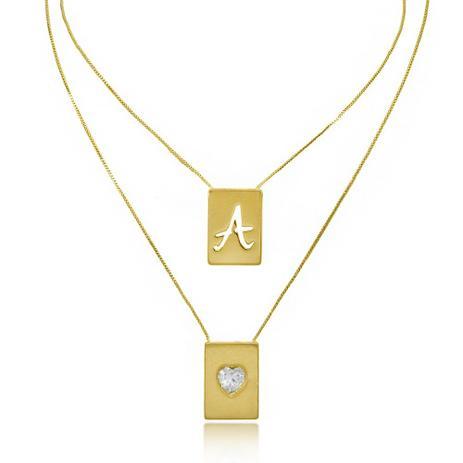 bcb21e99b36 Escapulário de Letra e Coração Zircônia Folheado A Ouro 18K - Lunoze joias