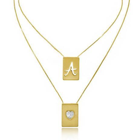 be5493e8b Escapulário de Letra e Coração Zircônia Folheado A Ouro 18K - Lunoze joias