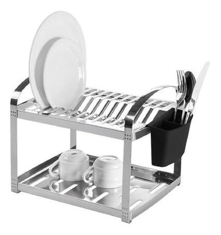 Imagem de Escorredor 12 pratos suprema inox c/ suporte p/ talheres