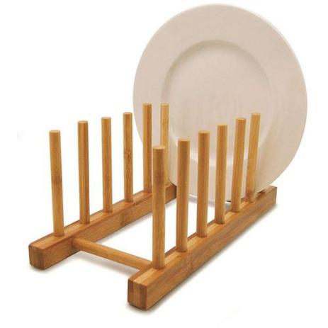 Imagem de Escorredor De Bambu Multiuso Pratos Suporte Copos Cozinha