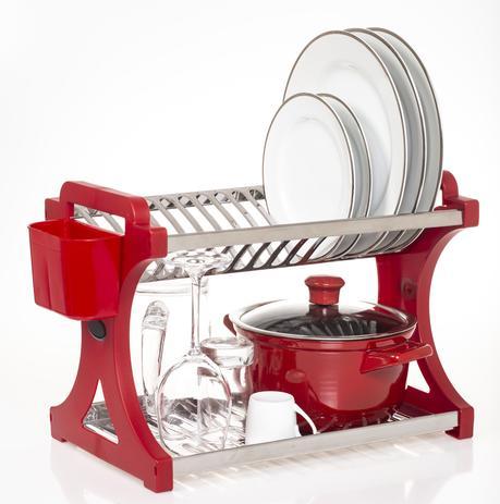 Imagem de Escorredor De Pratos Alto Vermelho Inox 16 Pratos