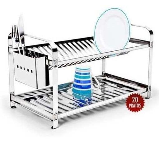 Imagem de Escorredor de Pratos Inox Para Cozinha 20 Pratos - Mak Inox