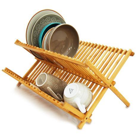 Imagem de Escorredor Louças Bambu Porta Pratos Talheres Dobrável Pia - Yoi